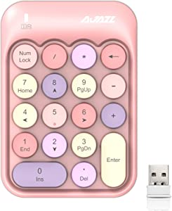 Wireless Numeric Keypad 18 Keys with 2.4G Mini Portable Silent Number Pad USB Receiver Financial Accounting Keyboard Extensions for Laptop Desktop PC Pro(Pink Mix)