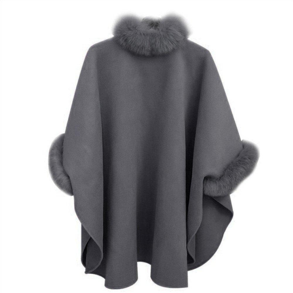 VANSOON Womens Coat Tunic Zipper Jacket, Fashion Casual Woollen Outwear Fur Collar Parka Cardigan Cloak Overcoat