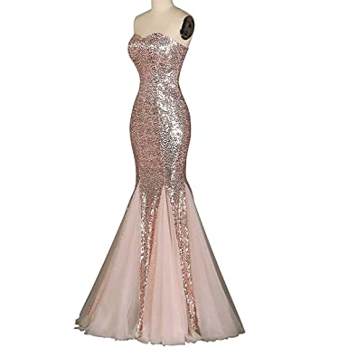 MonaBridal Womens Mermaid Sweetheart Sequin Prom Evening Dresses Rose Gold 2