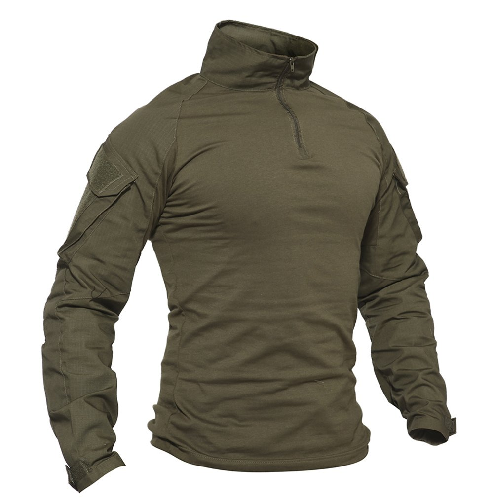 Men's Military Shirts Slim Fit Pullover Long Sleeve 1/4 Zip T-Shirt