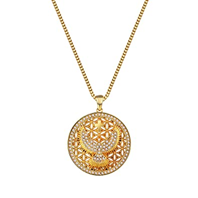 Round Peace Dove Cross Pendant Necklace 18K Gold / Platinum Plated Cubic Zirconia Charm Necklace for Women T58GE0X