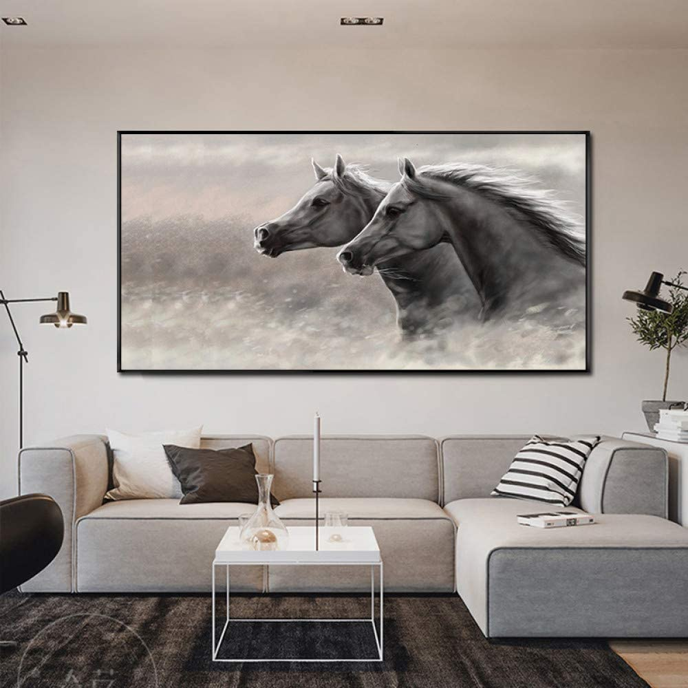 Gris dos caballos galopantes lienzo pintura sala de estar cuadros de animales impresiones de arte de pared decoración moderna para el hogar sin marco A 30x50cm