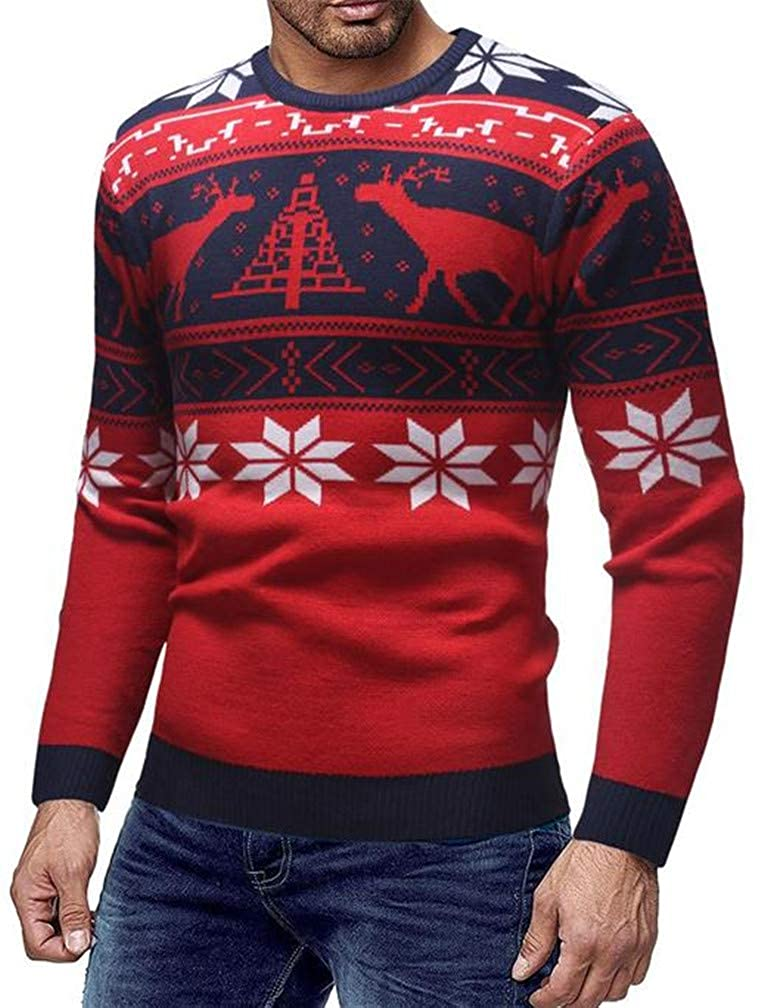 Blyent Mens Floral Printed Casual Thicken Xmas Pullover Knitted Jumper Sweaters