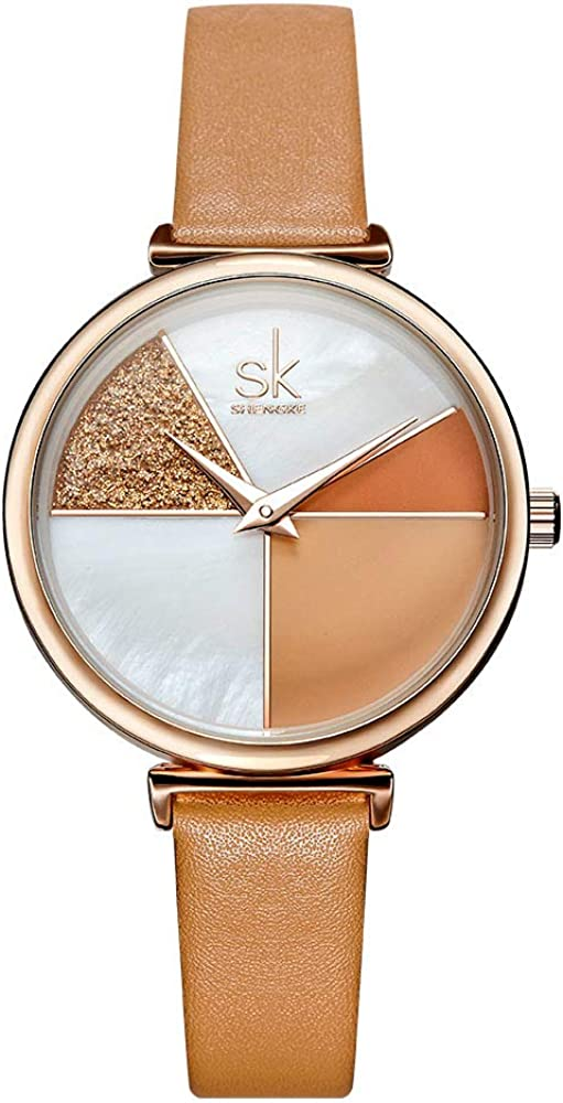 Women Watches Leather Band Luxury Quartz Watches Girls Ladies Wristwatch Relogio Feminino Mother Daughter Gift 0109 Brown