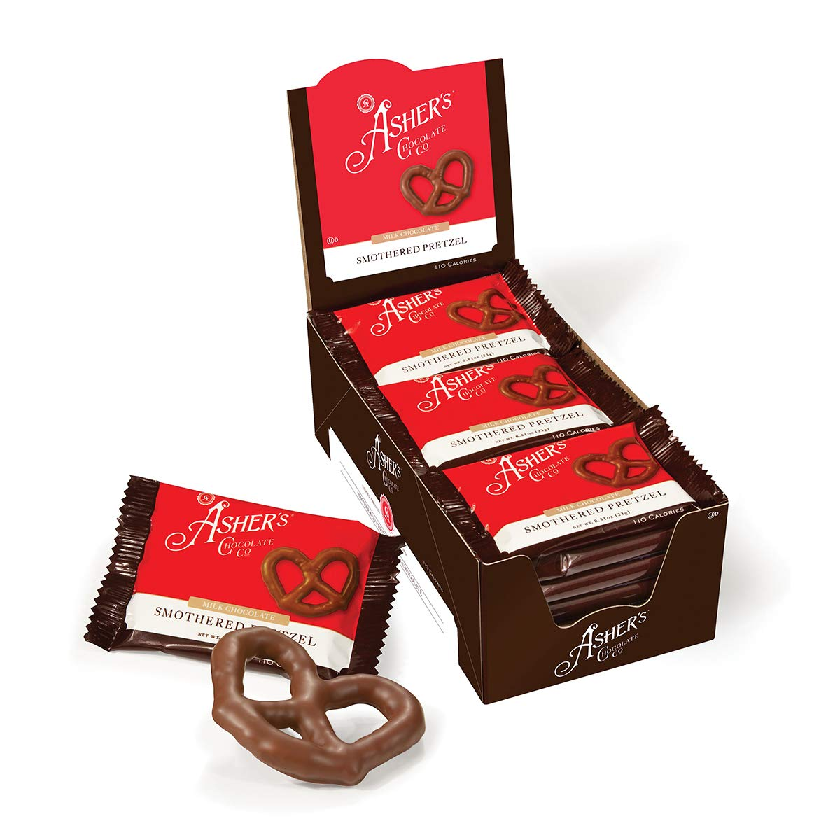 Asher's Chocolate, Chocolate Covered Pretzels, Gourmet Sweet and Salty Candy, Small Batches of Kosher Chocolate, Family Owned Since 1892 (18 count, Milk Chocolate) by Asher's Chocolates