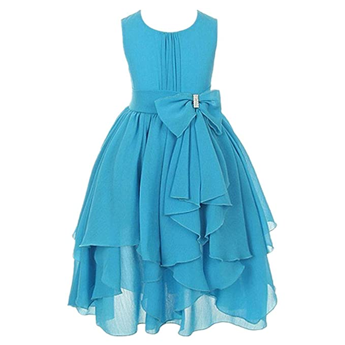FREE FISHER Niñas Vestido Elegante de Princesa de Gasa para boda fiesta, Azul 9-