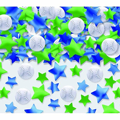 ball Themed Metallic Party Confetti Pack Mixes, 2.5 oz, White/Green/Blue ()