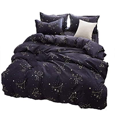 LemonTree Starry Sky Bedding Set - Kids Dark Mysterious Boundless Galaxy Night Duvet Cover Set - Constellation Pattern,Hypoallergenic,Microfiber,1 Duvet Cover+2 Pillowcases (# 08 Starry, Full/Queen): Home & Kitchen