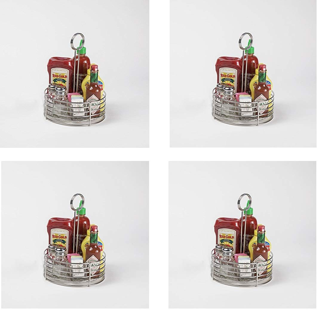 G.E.T. Enterprises Stainless Steel Round Stainless Steel Condiment Caddy Stainless Steel Table Caddies Collection 4-81850 (Pack of 1) (Fоur Расk)