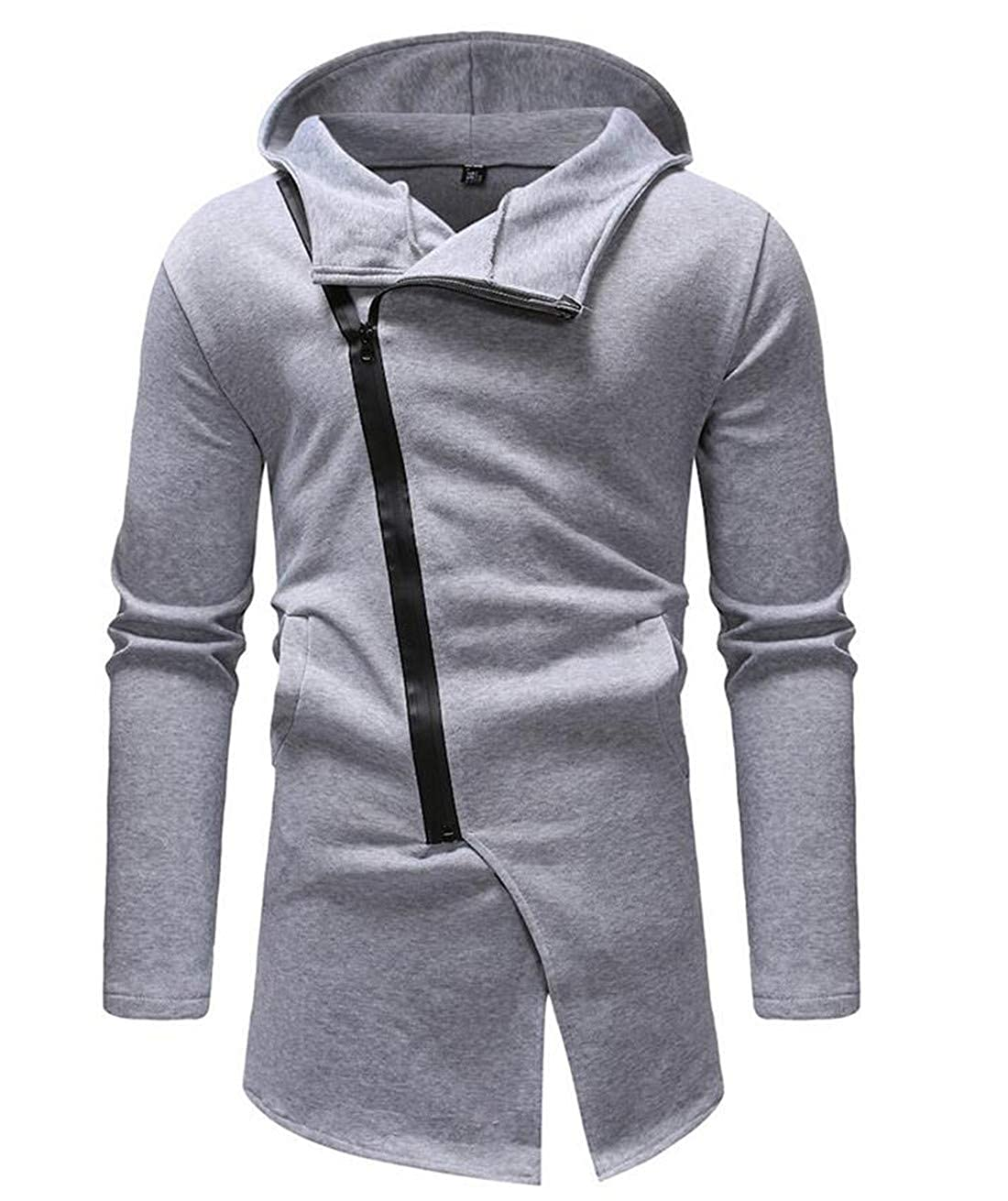 BU2H Men Pullover Long Sleeve Zip Up Solid Hoodie Sweatshirt