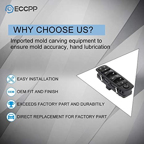 ECCPP Power Window Switch Door Lock Switch Front Driver/â/€s Side Fits for 2008-2009 for Chrysler TOWN COUNTRY 2008-2009 for Dodge GRAND 68029023AA