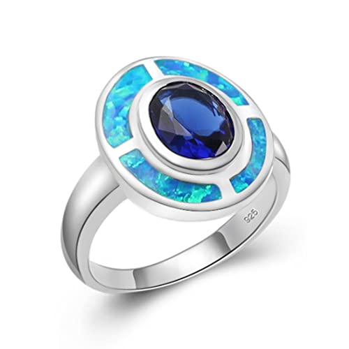 Amazon Engagement Ring Sterling Silver Australian Blue Opal