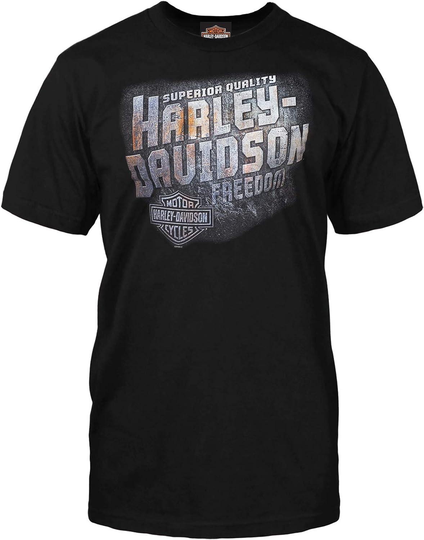 Mens Black Graphic Crew Neck T-Shirt HARLEY-DAVIDSON Military Iron Freedom RAF Mildenhall