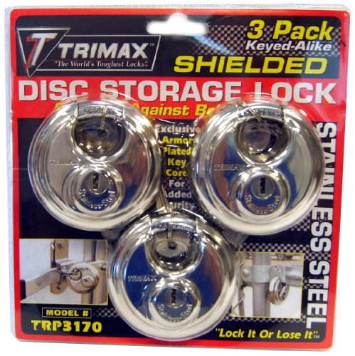 - Trimax TRP3170 70 mm Round Stainless Steel Padlock with 10 mm Keyed Alike Shackle, (Pack of 3)