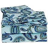 Superior Cotton Flannel Paisley Sheet Set Twin XL Light Blue