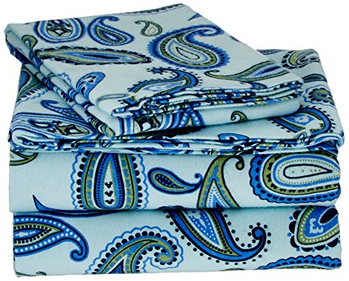 Superior Premium Cotton Flannel Sheets, All Season 100% Brushed Cotton Flannel Bedding, 3-Piece Sheet Set with Deep Fitting Pockets - Light Blue Paisley, Twin Bed