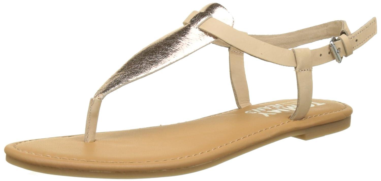 Hilfiger Denim Damen Metallic Flat Thong Sandal T-Spangen  36 EU|Pink (Rose Gold 638)