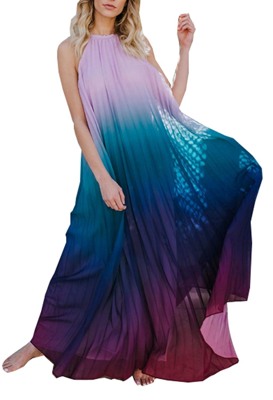 ZIYYOOHY Damen Mode Regenbogen Neckholder Rückenfrei Ärmellos Sommerkleid Lang Maxi Strandkleid Partykleid