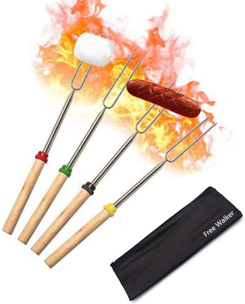 Marshmallow Roasting Smores Sticks,32-inch Extendable Sturdy Stainless Steel Roasting Forks for BBQ,Campfire,Hot Dog,Telescoping Camping Accessories Stove Fork,Safe for Kids,4 Sticks with Storage Bag