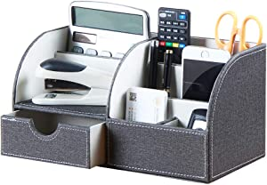 Leather Office Desktop Organizer with Drawer,Pen/Pencil Holder,Mail/Bill Sorter,Dorm Room Essentials,Desk Accessories/Office Supplies/Stationery/Business Card/Remote Control Storage Box (Grey)