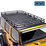 EAG Full Length Roof Rack Cargo Basket for 07-17 Jeep Wrangler JK 4 Door (4.6' x 7.8' x 5.5'')