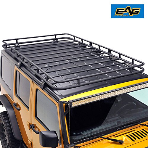 EAG Full Length Roof Rack Cargo Basket for 07-17 Jeep Wrangler JK 4 Door (4.6′ x 7.8′ x 5.5″)
