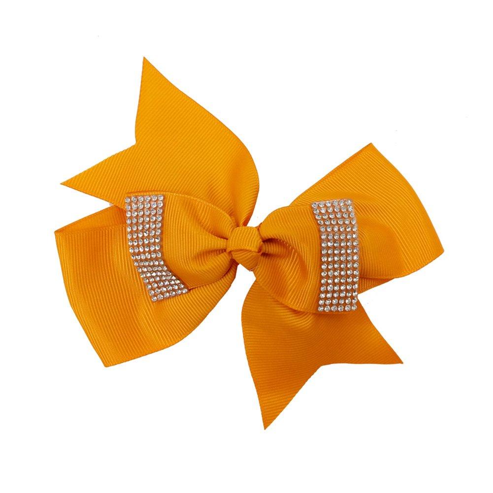 Yosemite bebé niñas horquilla Rhinestone Bowknot Cola Bifurcada Clip de pelo lazo pinza para el regalo naranja naranja talla única