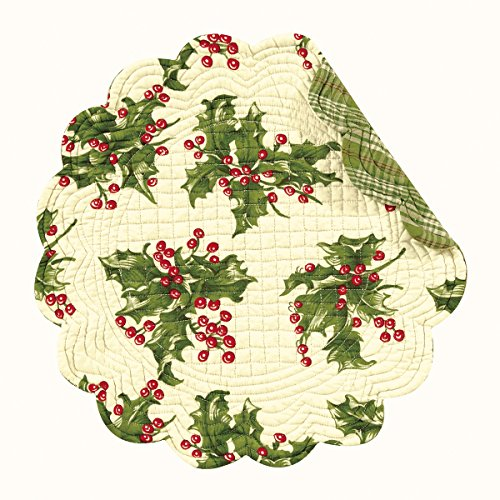 Multi Quilted Placemat (Set of 4 Pcs., 17 Inches Round Quilted Placemats, Holly, Cream, Christmas)