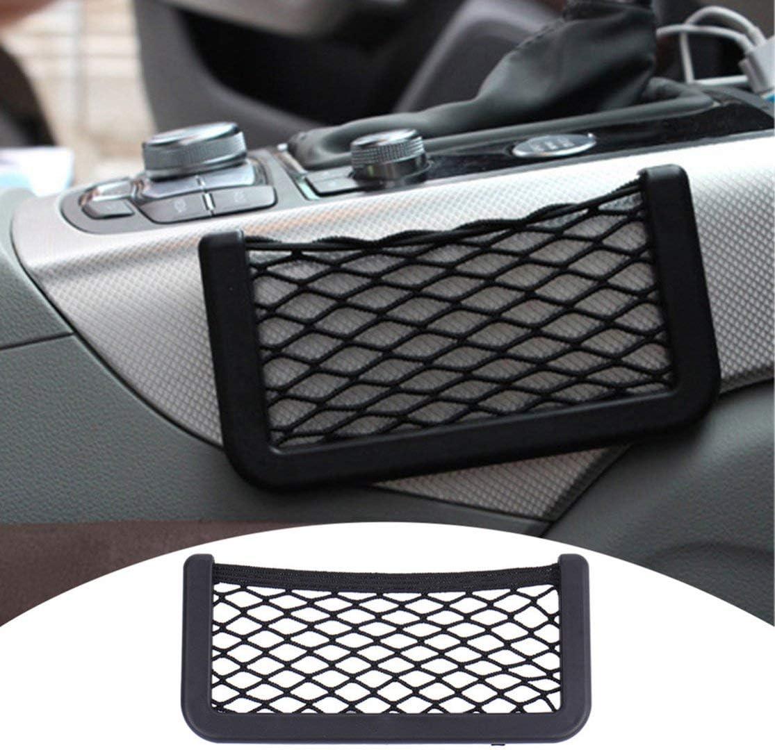 Candybarbar Small Car Seat Side Back Storage Net Bag String Bag Mesh Pocket Organizer Stick-on for Wallet Phone