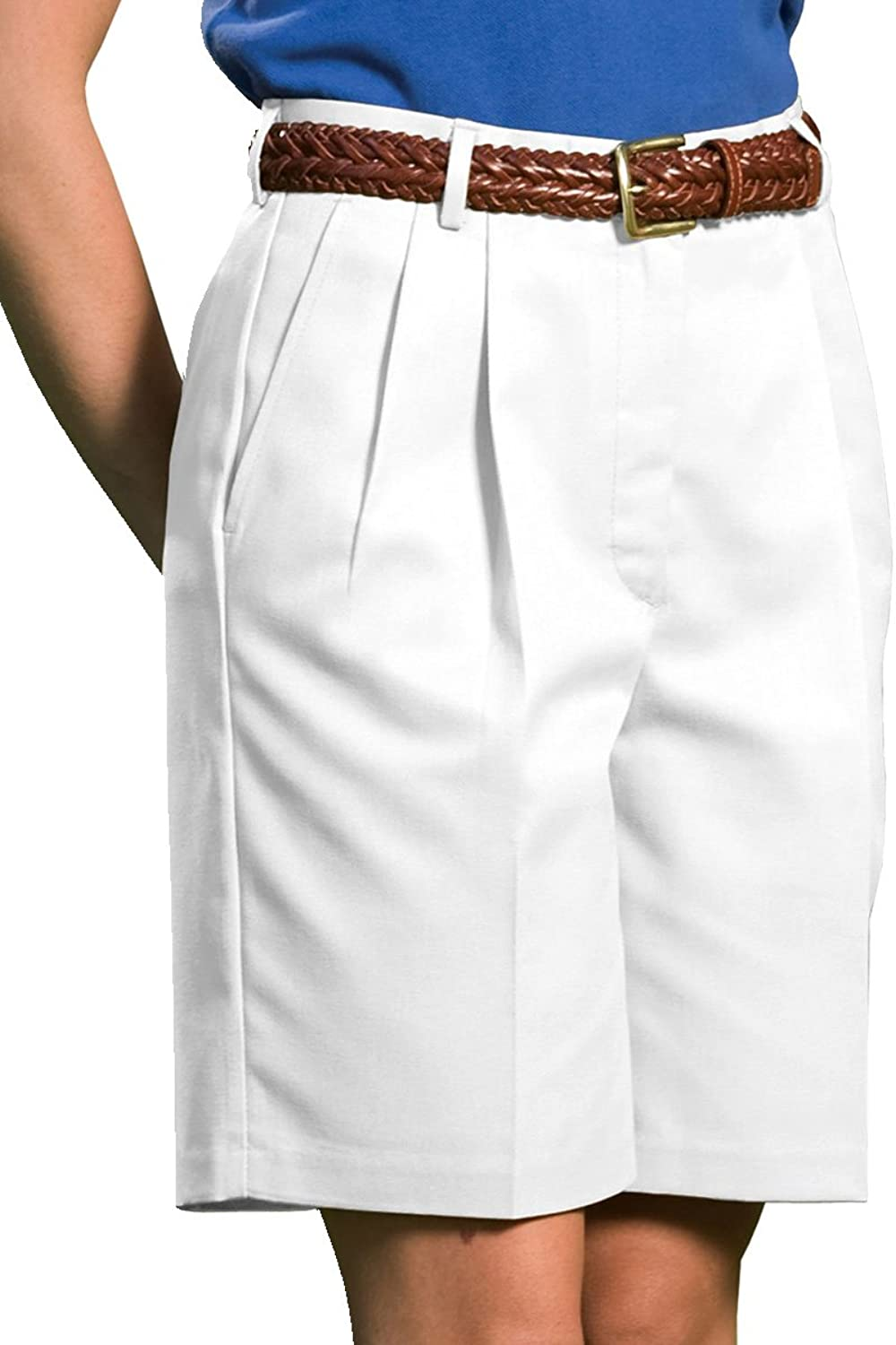 Ed Garments Women's Classic Fit Pleated Short, WHITE, 20W