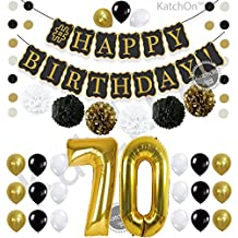 Black 70th BIRTHDAY DECORATIONS PARTY KIT - Black Gold and White Paper PomPoms| Latex Balloons | Gold Number 70 Ballon | Circle Garland | 70th Birthday Balloons | 70 Years Old Birthday Party Supplies