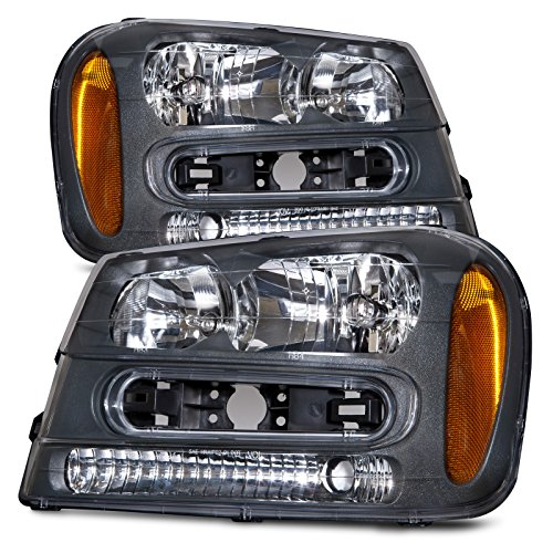 Chevy Trailblazer Replacement Parts - HEADLIGHTSDEPOT Compatible with Chevy Trailblazer New Black Housing Full-Width Grill Bar Headlamps Headlights Set