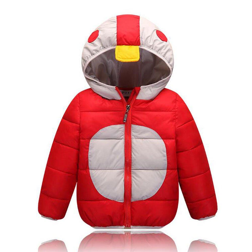 Meijunter Kids Boys Cartoon Cute Outerwear Hooded Puffer Down Jabket Warm Coat