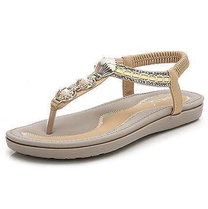 d0d949fbf4a2d Amazon.com: SHANGXIAN Women's Beach Flat Sandals Summer Bohemia ...