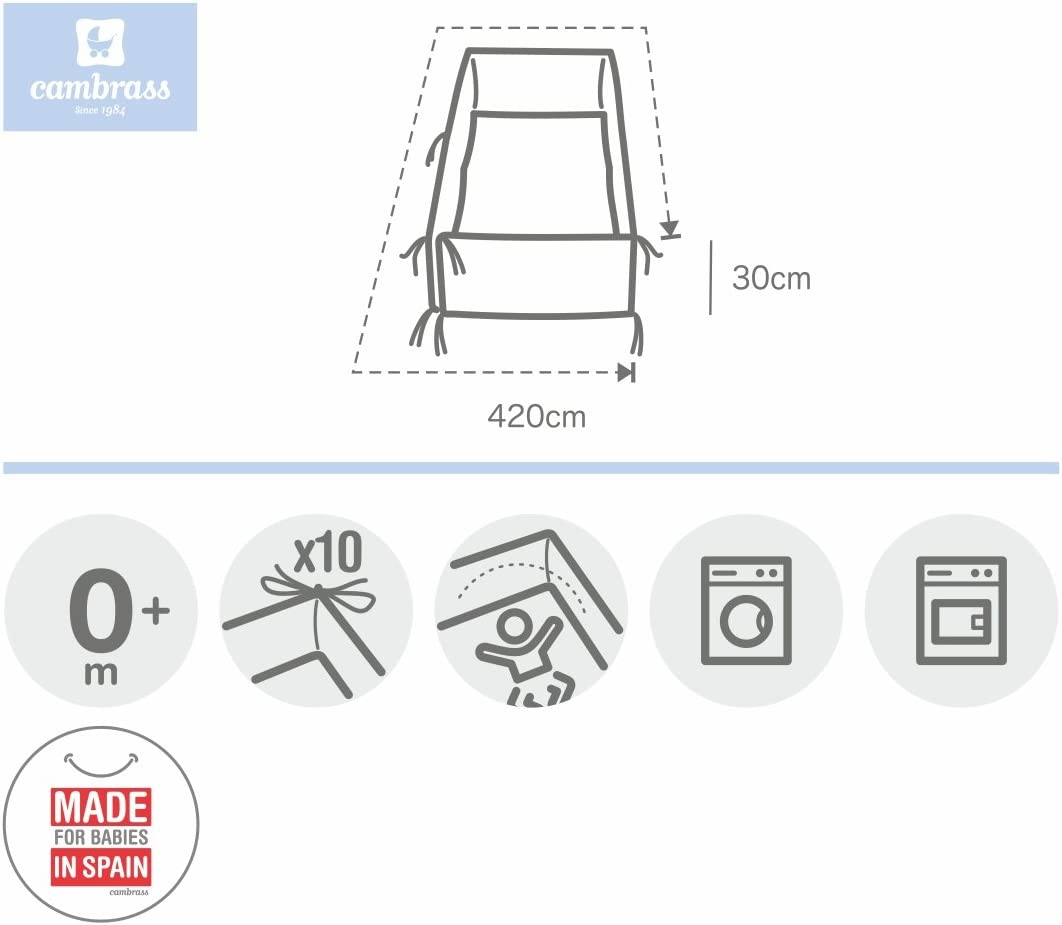 420 x 30 cm, LISO E White Cambrass Cot Bumper