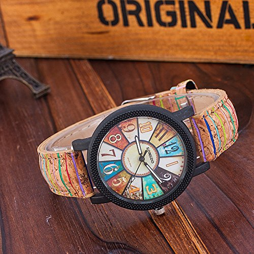 Amazon.com: Auntwhale Analog Quartz Watch Wood Grain Leather Band Watch Cathedral Glass Color Turntable pattern wrist watch Interesting Student watch for ...