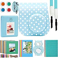 Katia 8 In 1 Instax Mini 9/ 8+ /8 Camera Accessories Bundle For Fujifilm Instant Film Camera (Protective Case/ Photo Album/ Filters/ Selfie Len/ Hanging Frames/ Stickers) and More - Ice Blue Dots
