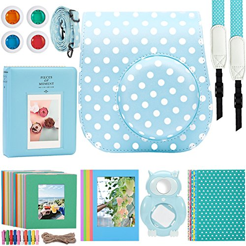 (Katia 8 In 1 Instax Mini 9/ 8+ /8 Camera Accessories Bundle For Fujifilm Instant Film Camera (Protective Case/ Photo Album/ Filters/ Selfie Len/ Hanging Frames/ Stickers) and More - Ice Blue Dots)