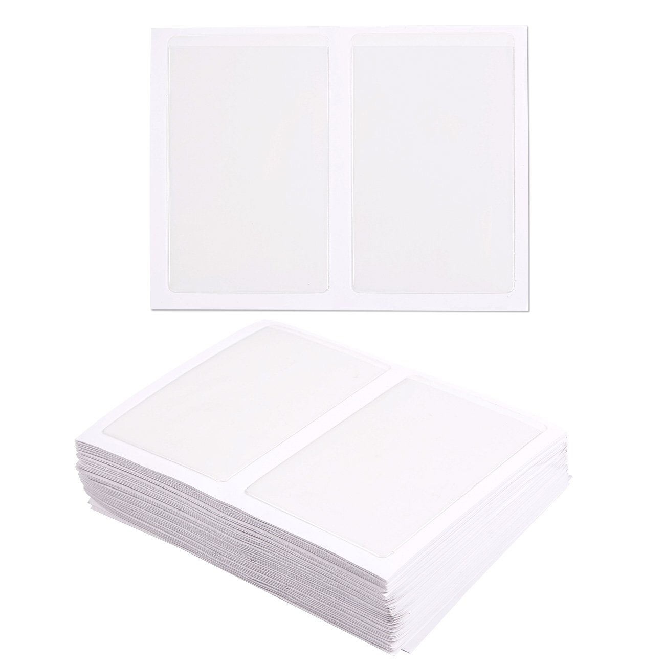 Juvale 100-Pack Self-Adhesive Business Card Holders - Pockets Open on Short Side - Ideal Organizing Safe Archiving Your Business Cards - Crystal Clear Plastic, 3.7 x 2.3 inches