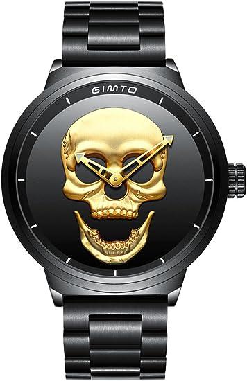 Totenkopf Uhren für Herren, schwarz, Cooles Edelstahl, großes Zifferblatt, Quarz Armbanduhr mit goldenem kreativen 3D Totenkopf Crâne
