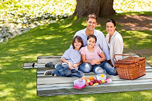 [Pack of 5] XXX-Large 70x80'' Picnic Blanket Waterproof bottom Soft top Polar Fleece extra large outdoor travel water sand resistant camping Stripe fold perfect for grass, tablecloth or handy sandproof by Spencer&Webb (Image #4)