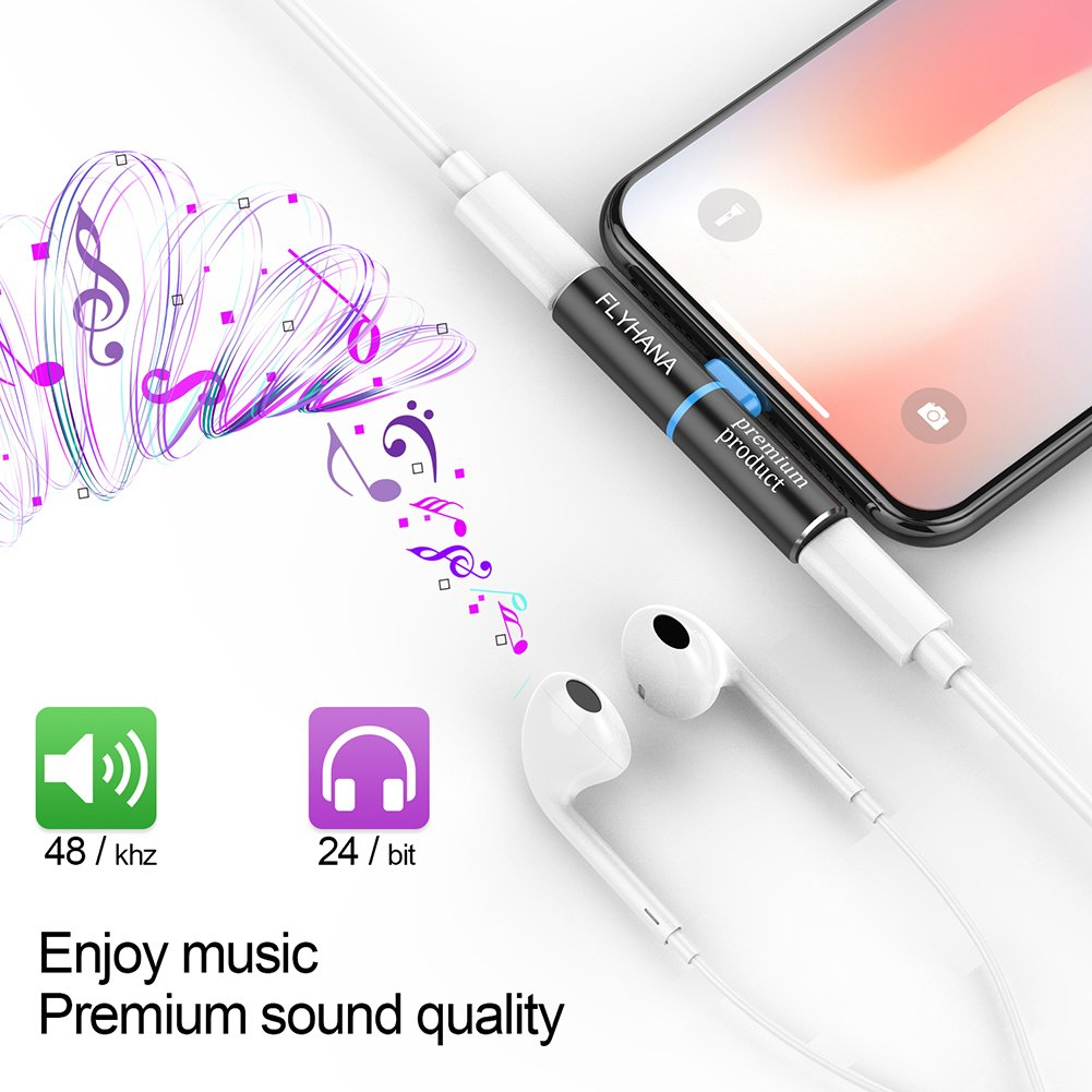 iPhone Dongle iPhone 7 Adapter Dual Lightning Wireless Charge and Listen Support Calling and Music Control Compatible with IOS 11 or Later (Dual Lightning)