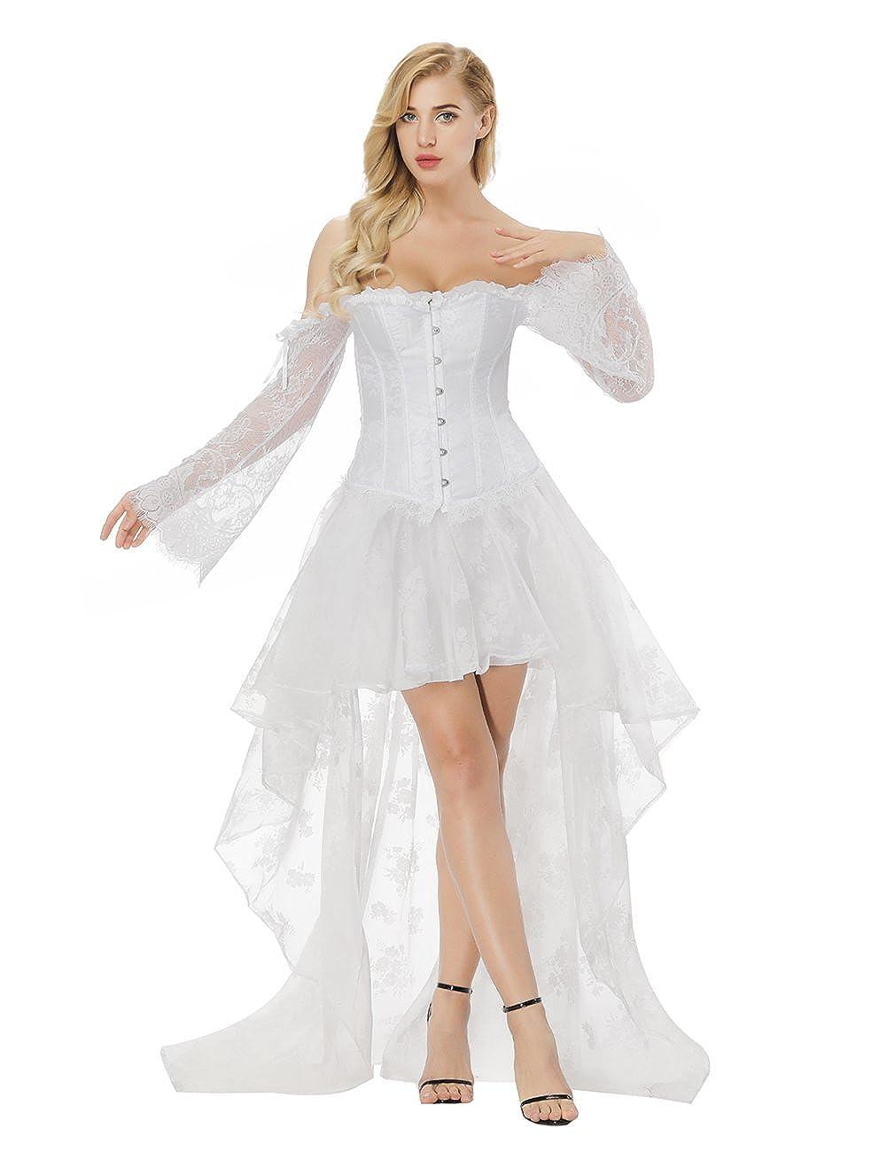 Grebrafan Steampunk Corset Blusa Fiesta Mujer Cors/é de Encaje y Falda Conjunto