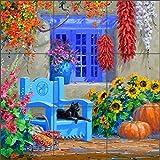 Ceramic Tile Mural Backsplash - Floral Courtyard - Tending the Garden by Mikki Senkarik - Kitchen Bathroom Shower (18'' x 18'' - 6'' tiles)