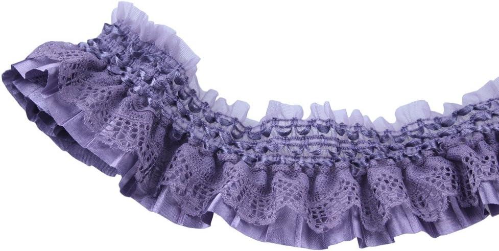 Purple Lace Gathered Elastic Pleated Satin Ribbon Trim