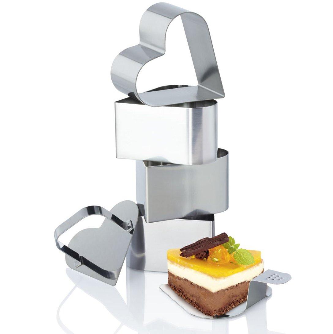 ERNESTO/® Dessert- und Speiseformen-Set 1 Stempel 4 Speiseringe 6-teilig rund, ca. /Ø 7,5 x H 5,5 cm 1 Heber