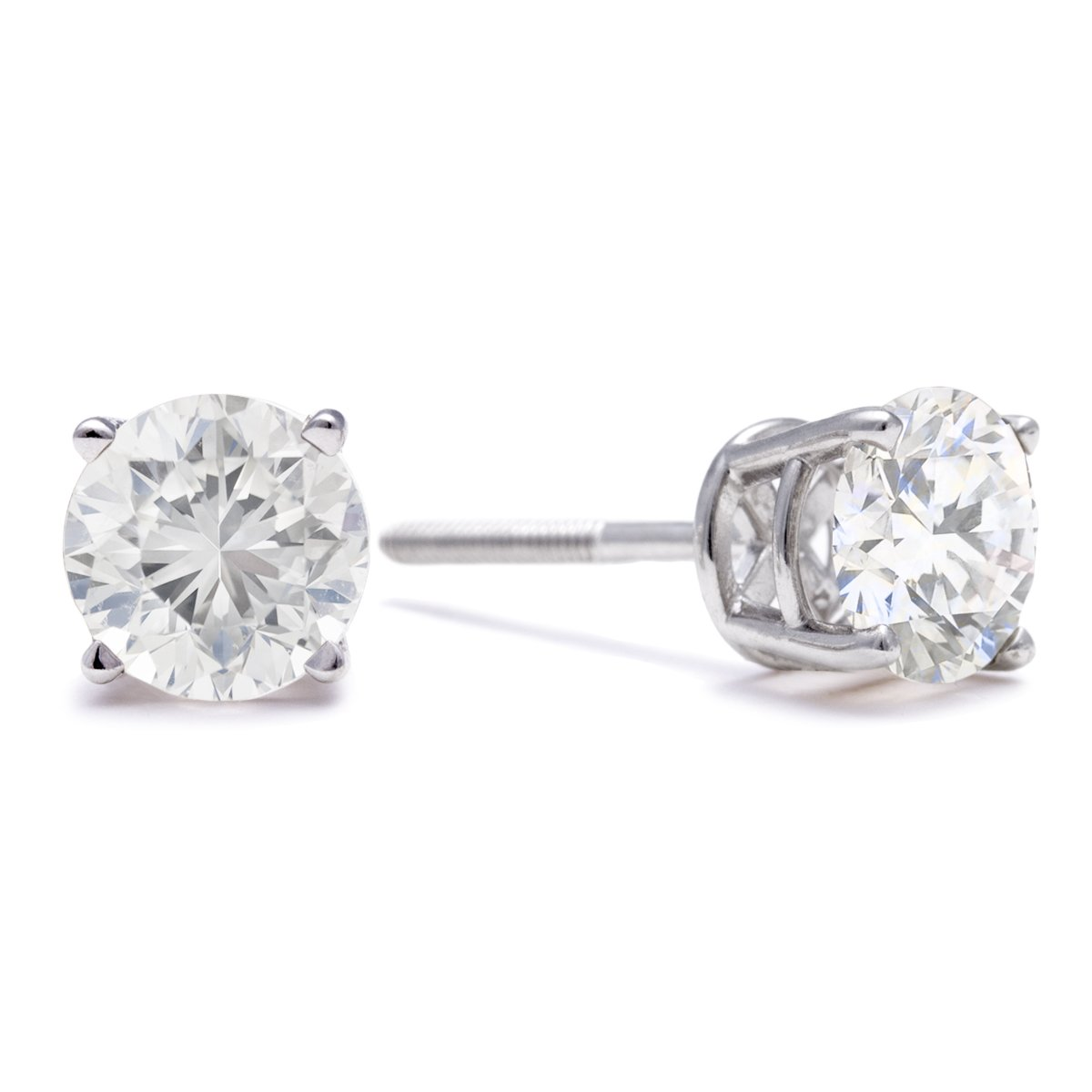 1 ½ cttw 14k White Gold Round Diamond Stud Earrings (AGS Certified K-L, I2-I3)