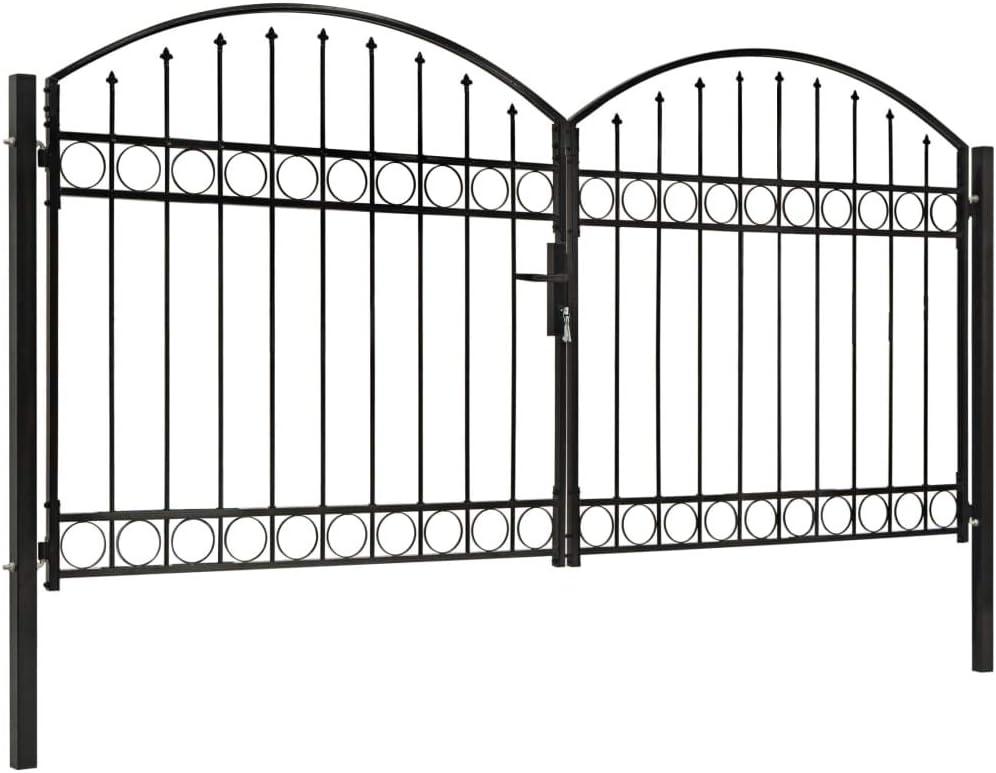 vidaXL Zauntor mit Gew/ölbter Spitze Doppelfl/ügeltor Metalltor Gartentor Gartenzaun Tor Pforte Doppeltor Hoftor Einfahrtstor Stahl 300x125cm Schwarz