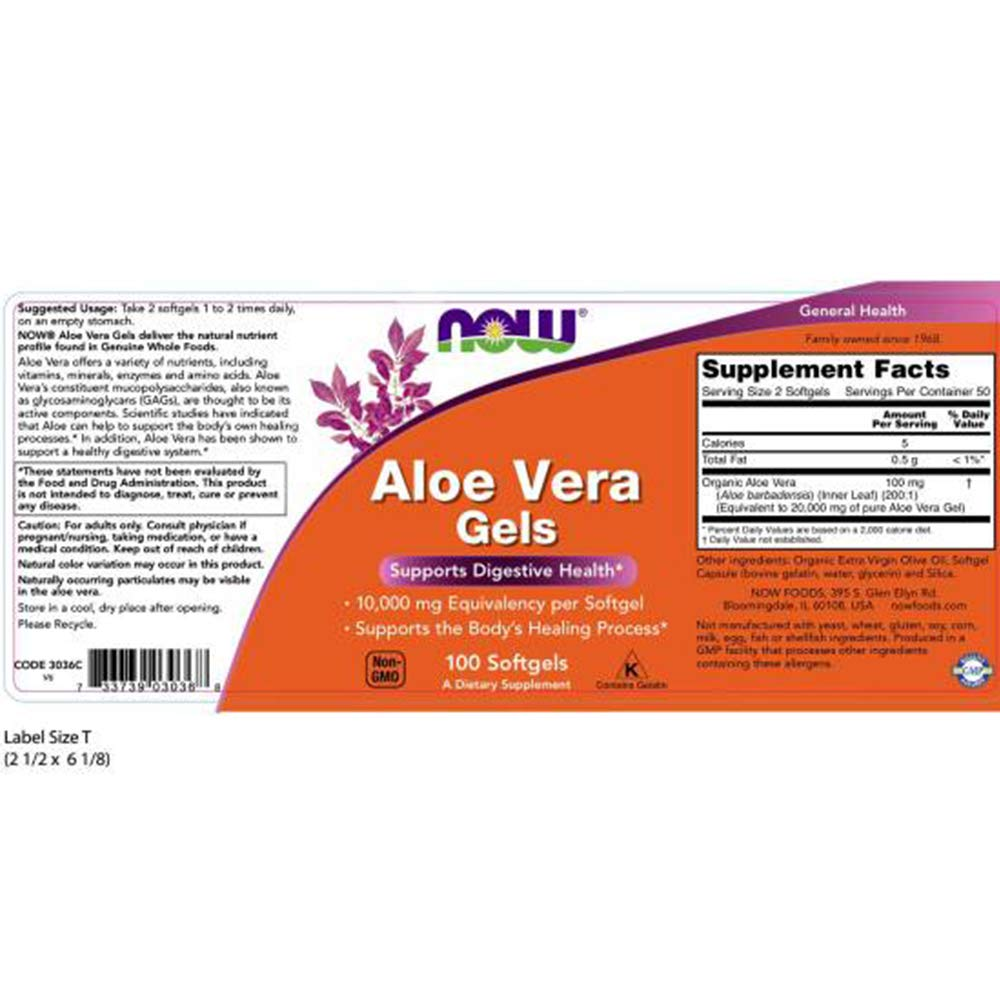 Now Foods Aloe Vera, 100 softgels 2 pack by NOW Foods (Image #2)