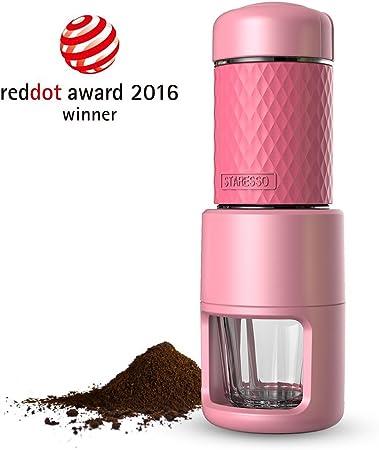 Reddot award] STARESSO SP-200 Cafetera Italiana Express Manual de Viaje Máquina de Café Capuchino Portátil con Copa de Cristal Color Rosa: Amazon.es: Hogar